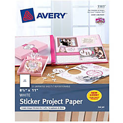 Avery Sticker Project Paper Letter Size 8 1 2 X 11 White Pack Of 15 Sheets Item 965499