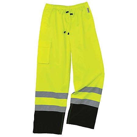 Ergodyne GloWear® 8915BK Class E Polyester Hi-Vis Rain Pants, X-Large, Lime/Black