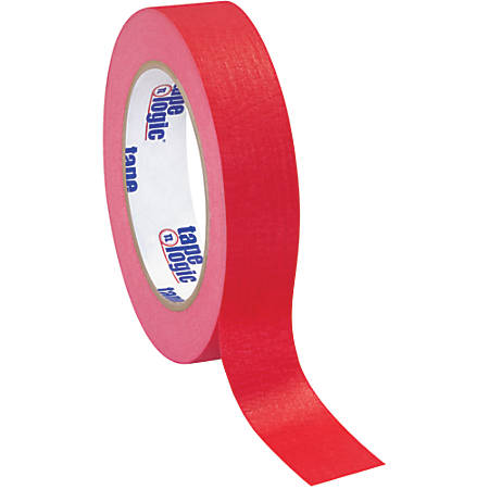 "Tape Logic® Color Masking Tape, 3"" Core, 1"" x 180', Red, Case Of 12"