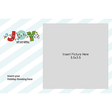 Flat Photo Greeting Card, Joy With Lights And Stripes, Horizontal