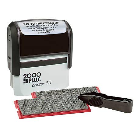 "Cosco 2000PLUS Self-Inking Print Kit, 1 7/8"" x 3/4"" Impression, Black"