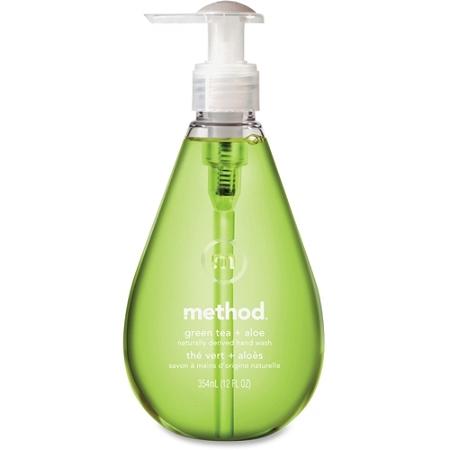 Method Green Tea/Aloe Gel Hand Wash, Green Tea + Aloe Scent, 12 Oz, Carton Of 6