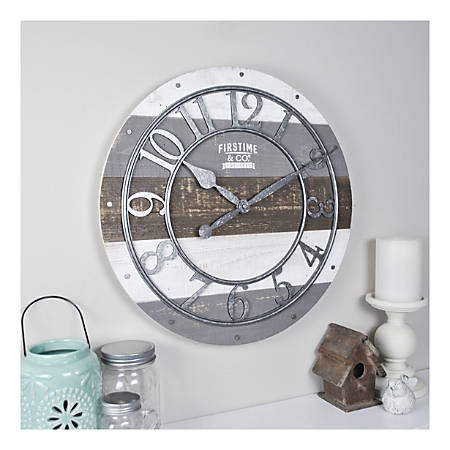 FirsTime & Co.® Shabby Wood Wall Clock, Antique White/Distressed Gray