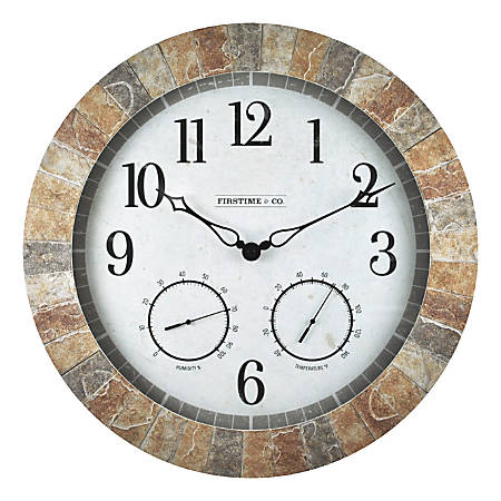 FirsTime & Co.® Sandstone Outdoor Wall Clock, Tan/Stone