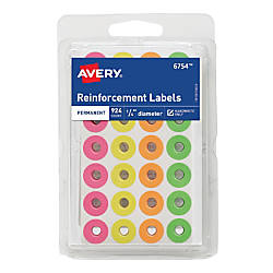 Avery Neon Permanent Adhesive Reinforcement Labels