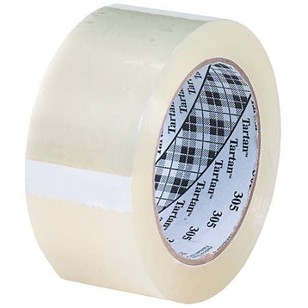 "3M Tartan™ 305 Carton Sealing Tape, 3"" Core, 2"" x 110 Yd., Clear, Case Of 6"