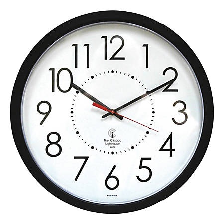 """Chicago Lighthouse 14.5"""" Black Electric Wall Clock - Electric"""
