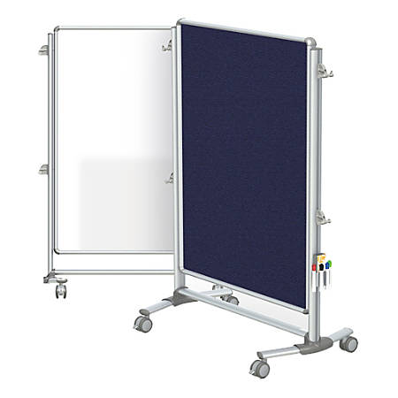"Ghent Nexus Jr. Partition Double-Sided Mobile Magnetic Whiteboard And Bulletin Board, Porcelain/Fabric, 46-1/4"" x 34-1/4"", Blue Fabric, Aluminum Frame"