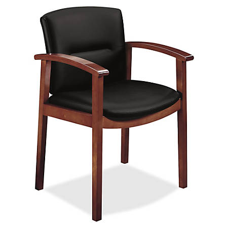 "HON Park Avenue Collection Guest Chair - Leather Black Seat - Leather Black Back - Hardwood Frame - Four-legged Base - Cognac - Veneer - 20"" Seat Width x 17"" Seat Depth - 23.5"" Width x 22"" Depth x 33.6"" Height"