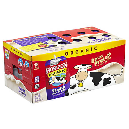 Horizon Organic Lowfat Milk, Vanilla, 8 Oz, Pack Of 18 Cartons