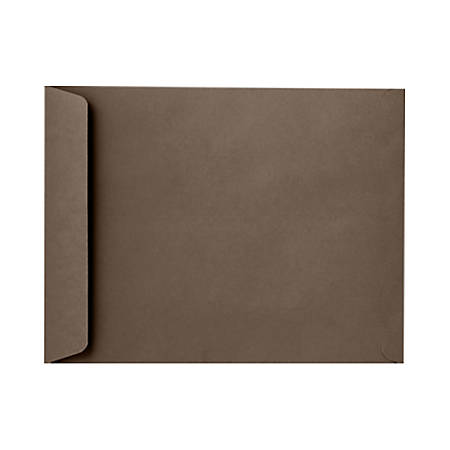 """LUX Open-End Envelopes With Peel & Press Closure, 10"""" x 13"""", Chocolate Brown, Pack Of 50"""