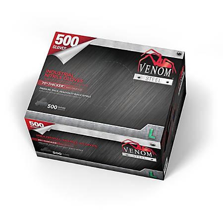 Medline Venom Steel Nitrile Industrial Gloves, Large, Black, Pack Of 500