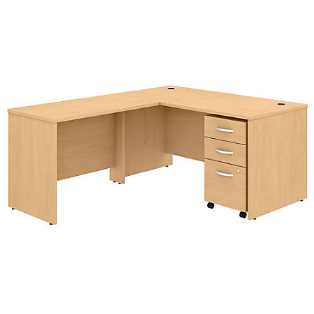 "Bush Business Furniture Studio C 60""W x 30""D L-Shaped Desk With Mobile File Cabinet And 42""W Return, Natural Maple, Standard Delivery"