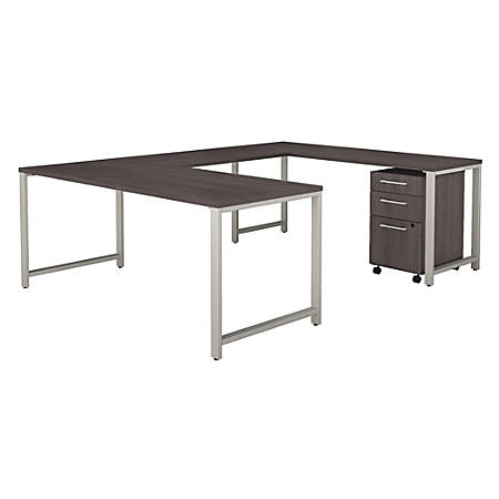 """Bush Business Furniture 400 Series U Shaped Table Desk with 3 Drawer Mobile File Cabinet, 72""""W, Storm Gray, Standard Delivery"""