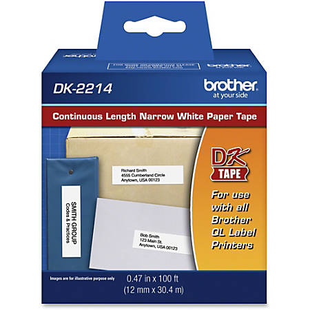 "Brother DK2214 - Continuous Length Paper Tape - 0.47"" Width x 100 ft Length - Rectangle - Direct Thermal - White - 1 / Roll"