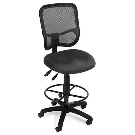 OFM Mesh Comfort Series Fabric Ergonomic Task Chair With Drafting Kit, Gray/Black