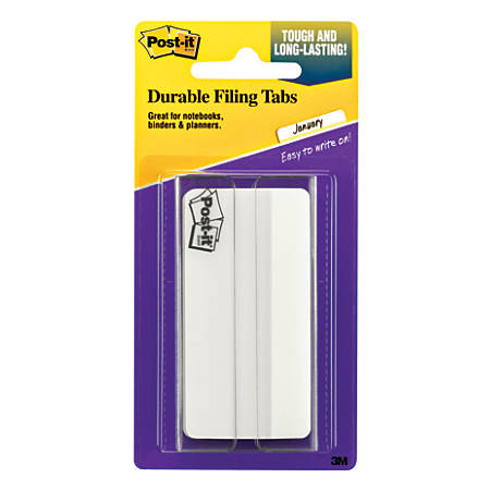 "Post-it® Durable Filing Tabs, 3"", White, Pack Of 50"
