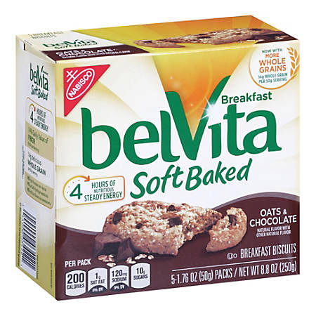 BELVITA Soft Baked Breakfast Biscuits Oats & Chocolate, 5 Count, 6 Pack