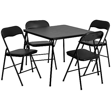 Flash Furniture Square Black Folding Table With 4 Folding Chairs, Black