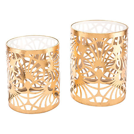 Zuo Modern Tropic Tables, Round, Clear/Gold, Set Of 2 Tables
