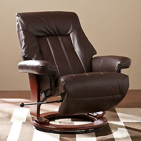 Southern Enterprises Norland Recliner, Kona Brown/Cherry
