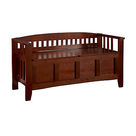 """Linon Home Decor Products Storage Bench Short Split Seat Storage, 25 1/4""""H x 50""""W x 17""""D, Walnut"""