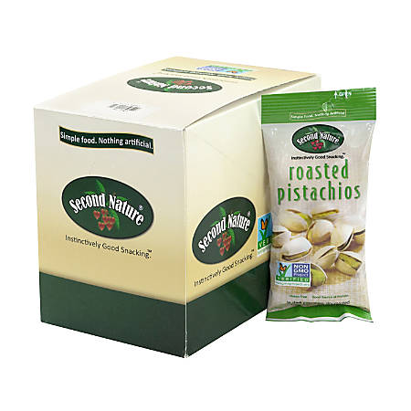 Second Nature Roasted Pistachio Nuts, 1.5 Oz, Pack Of 12 Bags