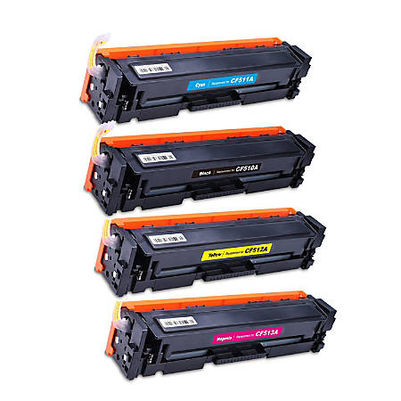M&A Global Cartridges HP204A 4 CLRS CMA (HP 204A / CF510A / CF511A / CF512A / CF513A) Remanufactured Black/Cyan/Magenta/Yellow Toner Cartridges, Pack Of 4 Cartridges