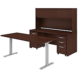 """Bush Business Furniture Studio C 72""""W x 30""""D Height-Adjustable Standing Desk, Credenza With Hutch And Mobile File Cabinets, Harvest Cherry, Premium Installation"""