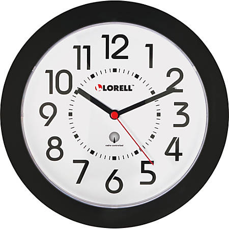 "Lorell® 9"" Round Radio Controlled Profile Wall Clock, Black"