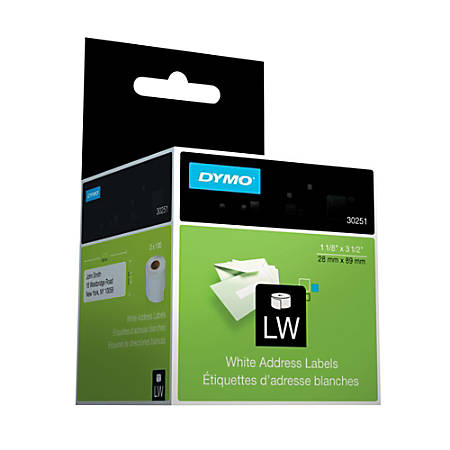 "DYMO® 30251 LabelWriter® Address Labels, 30251, 1 1/8"" x 3 1/2"", White, 130 Labels Per Roll, Pack Of 2 Rolls"