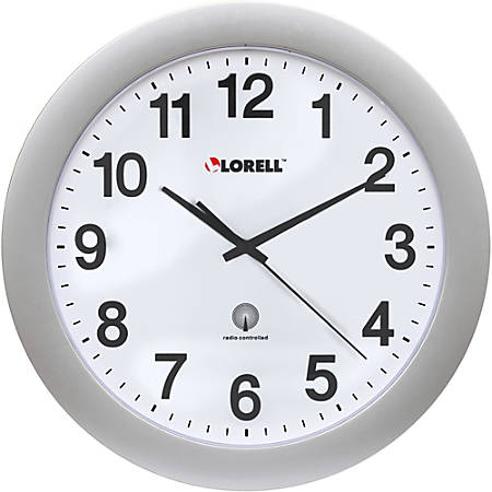 """Lorell® 12"""" Round Radio Controlled Wall Clock, Silver"""