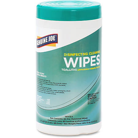 "Genuine Joe Fresh Scent Disinfecting Cleaning Wipes - Wipe - Fresh Scent - 6"" Width x 8"" Length - 80 / Canister - 12 / Carton - White"