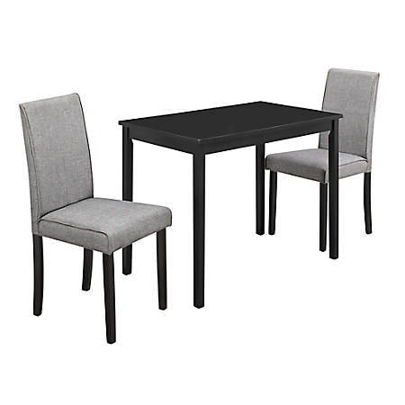 Monarch Specialties Eliana Dining Table With 2 Chairs, Black/Gray