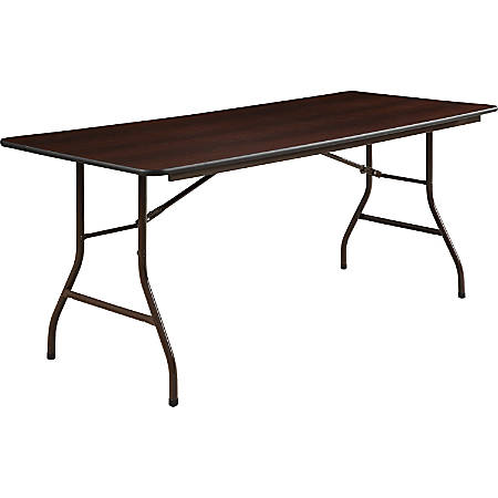 Lorell® Laminate Economy Folding Table, 6'W, Mahogany