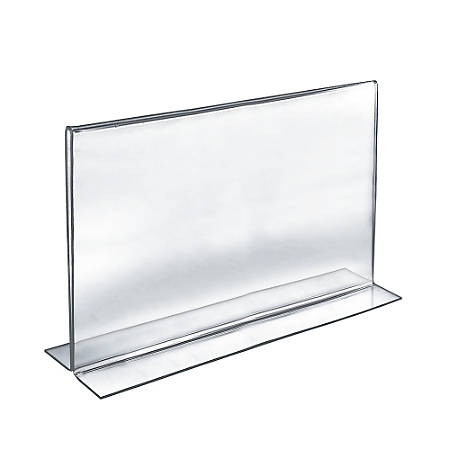"Azar Displays Double-Foot Acrylic Sign Holders, 11"" x 17"", Clear, Pack Of 10"