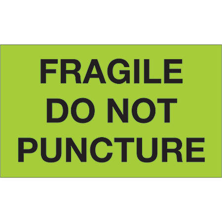 "Tape Logic® Preprinted Special Handling Labels, DL1197, Fragile Do Not Puncture, Rectangle, 3"" x 5"", Fluorescent Green, Roll Of 500"