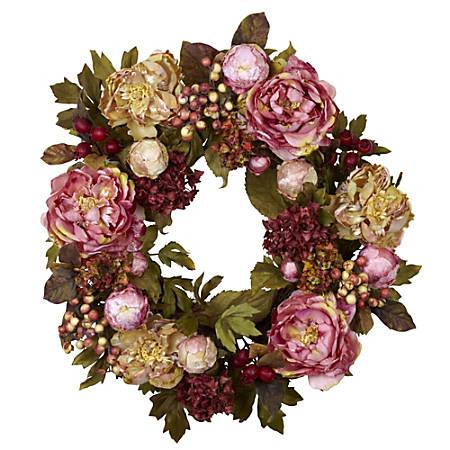 "Nearly Natural Polyester Peony Hydrangea Wreath, 24"", Autumn"