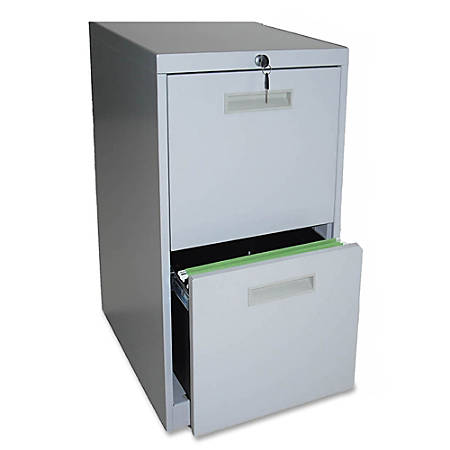 "Lorell® 2-Drawer Mobile Letter-Size Pedestal File Cabinet, 19""D, Light Gray"