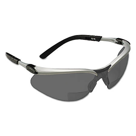 BX Safety Eyewear, Gray +2.0 Diopter Polycarbonate Hard Coat Lenses, Silver/Blk