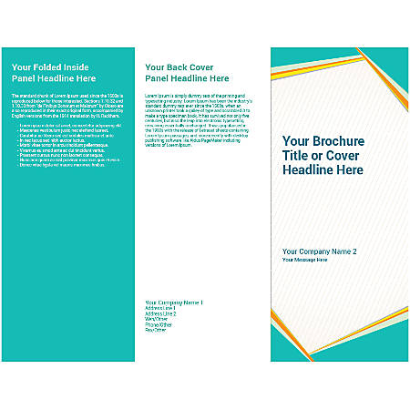 Customizable Trifold Brochure, Teal And Yellow