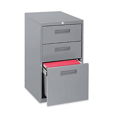 "Lorell® 19""D Mobile Letter-Size Pedestal File Cabinet, Box/Box/File, Light Gray"