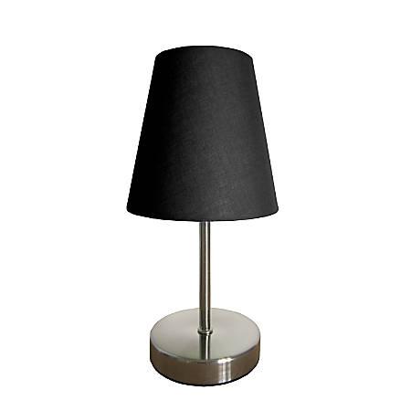 "Simple Designs Mini Basic Table Lamp, 10"", Black Shade/Sand Nickel Base"
