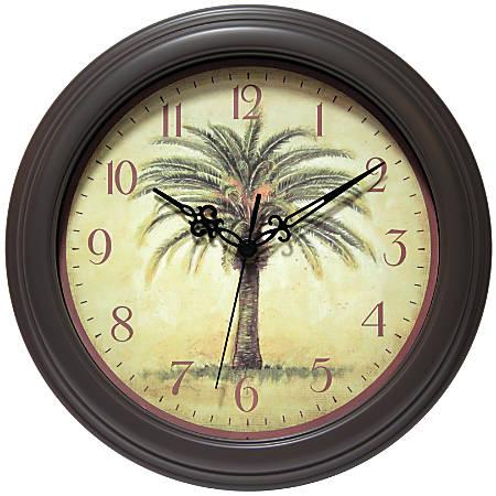 "Infinity Instruments Cabana 12"" Round Wall Clock, Brown"
