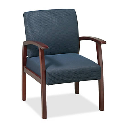 Lorell® Wood Guest Chair, Midnight Blue Fabric/Cherry Frame