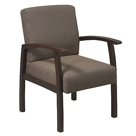 Lorell® Wood Guest Chair, Taupe Fabric/Espresso Frame