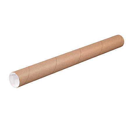 "Office Depot® Brand Kraft Mailing Tubes With Plastic Endcaps, 1 1/2"" x 6"", Pack Of 50"