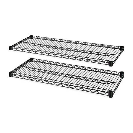 Lorell® 4-Tier Wire Rack With Shelves, Extra Shelves, Black, Carton Of 2