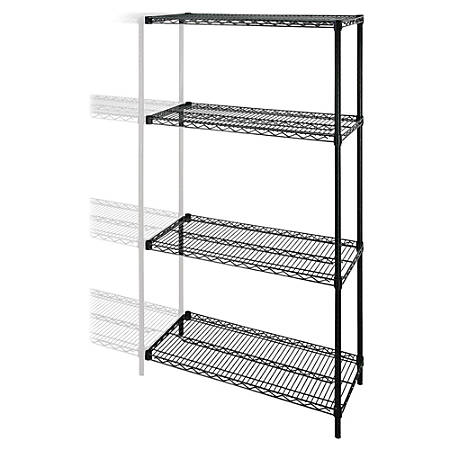 "Lorell® Industrial Wire Shelving Add-On Unit, 36""W x 24""D, Black"
