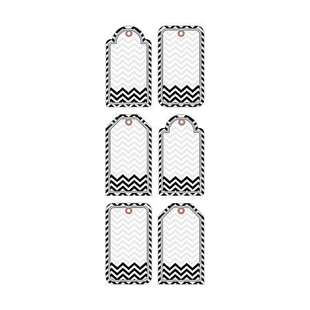 Barker Creek® Accents, Double-Sided, Chevron Black And White, Pack Of 36